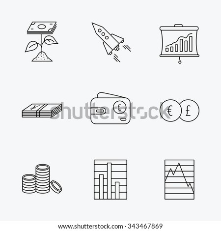 Profit investment, cash money and startup rocket icons. Wallet, currency exchange and euro linear signs. Chart, coins and statistics icons. Linear black icons on white background. - stock vector