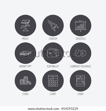 Profit investment, cash money and startup rocket icons. Wallet, currency exchange and euro linear signs. Chart, coins and statistics icons. Linear icons in circle buttons. Flat web symbols. Vector - stock vector