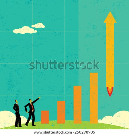 Profits Taking Off Businessmen watch as profits literally take off like a rocket. The men & bar graph and background are on separate labeled layers. - stock vector