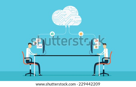 Programing connection develop web site and application on cloud network connection - stock vector
