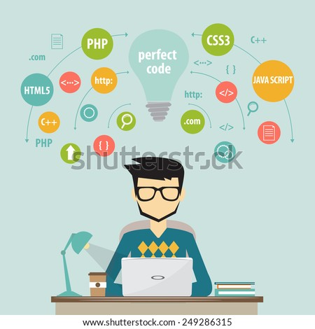 programmer and process coding and programming concept - stock vector