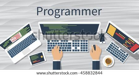 Programmer computer desk working on program stock vector royalty programmer at computer desk working on program software concept vector illustration flat design ccuart Image collections