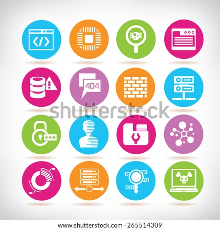programmer icons, network icons - stock vector