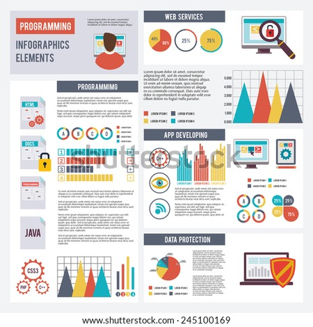 Programmer infographics set with app development and data protection elements and charts vector illustration - stock vector