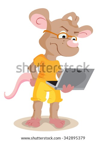 Programmer rat holding a laptop in the hands - stock vector