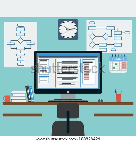 Programmer's workplace flat vector illustration - stock vector