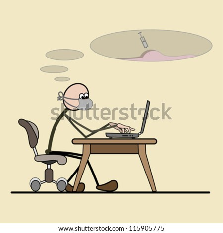 Programmer sitting in a chair. computer on the desk. removes computer viruses. - stock vector