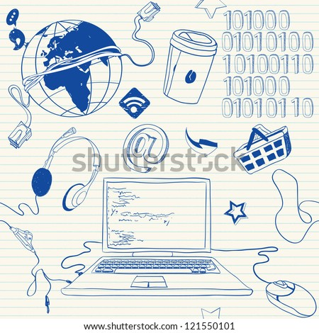 Programmer stuff doodles - stock vector