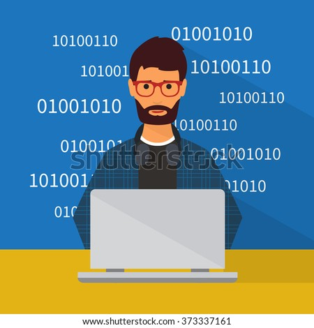 Programmer working at laptop. Flat character illustration - stock vector