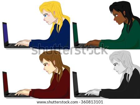 Programmer Working Woman Vector Illustration - stock vector