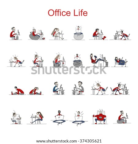 Programmers at work, office life, sketch for your design - stock vector