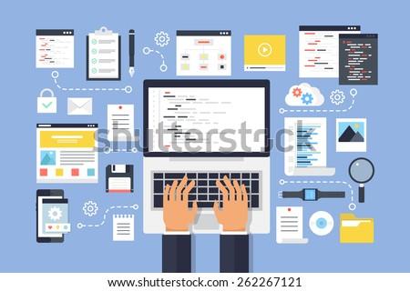 Programming and coding, website development. Flat design style modern vector illustration. - stock vector
