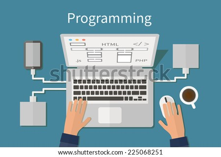 Programming and coding, website development, web design. Flat vector illustration - stock vector