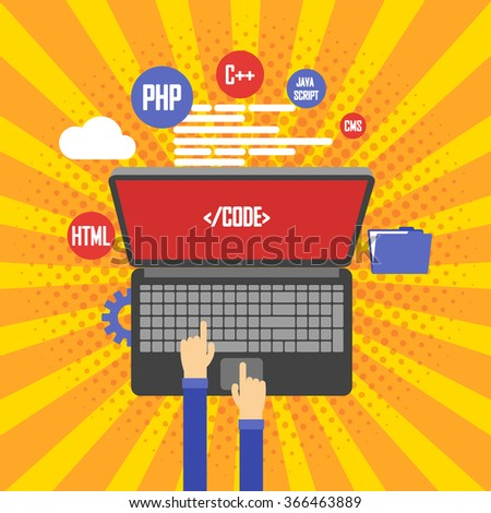 Programming and coding, website development, web design. Flat vintage retro vector illustration - stock vector