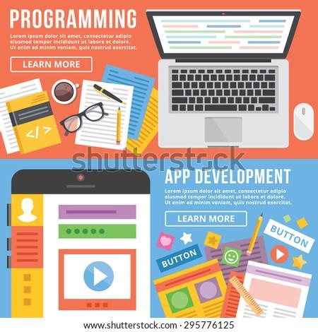 Programming, app development flat illustration concepts set. Flat design concepts for web banners, web sites, printed materials, infographics. Creative vector illustration - stock vector