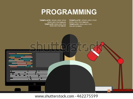 Programming concept. Man is coding. Computer with lines of code on screen and computer mouse.  Flat design graphics for web banners, web sites, printed materials. Vector