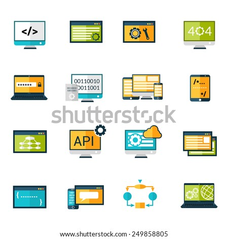 Programming database development digital storage protection icons set isolated vector illustration - stock vector