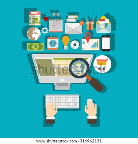 Programming flat cloud computing and social media background. Data storage network technology.  - stock vector