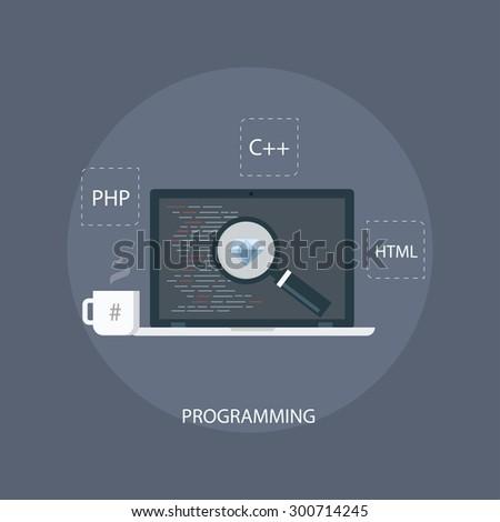 Programming icon. Programming code concept. Computer programming. Programming and coding. Source code sign. Web development illustration. Programming vector icon. Coding icon. Development icon.  - stock vector