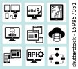 programming icons, software development icons - stock photo