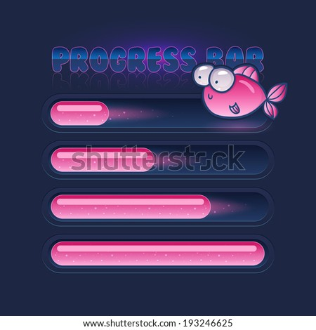 progress bar for games with cute fishes - stock vector