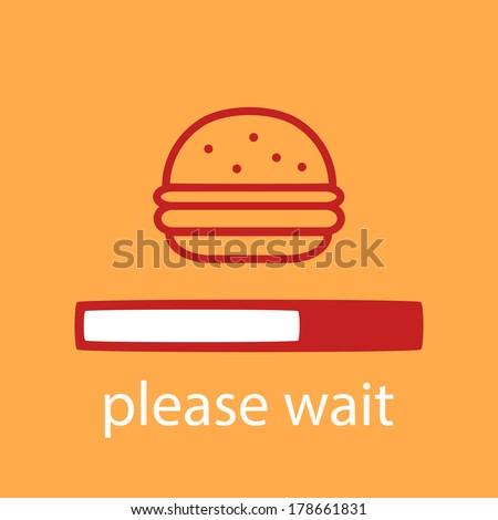 progress bar with a burger. Waiting for burger. - stock vector