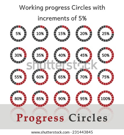 Progress circles with increments of 5% - red design - stock vector