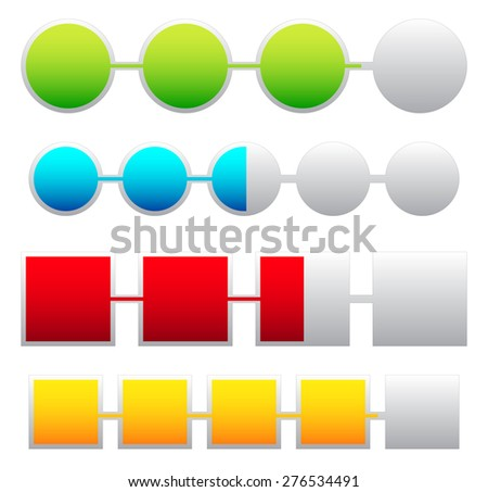 Progress indicators, loading, progress bars with basic colors. Levels can be adjusted with opacity masks. - stock vector