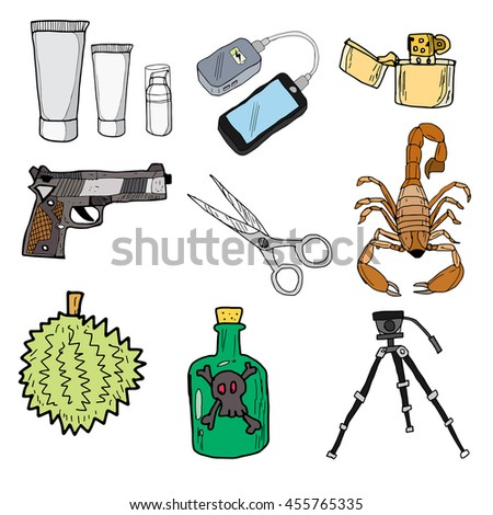 Prohibited items airport doodle icon hand free Vector EPS10. - stock vector