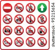 Prohibited set symbols. Forbidden sign collection. Sticker for supermarkets and shopping center - stock photo