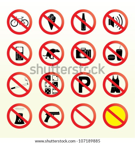 Prohibited signs - stock vector