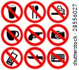 prohibited signs no drinking smoking and weapons illustration - stock vector
