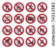 Prohibited signs, set - stock vector