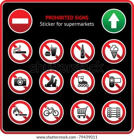 Prohibited Signs. Sticker for supermarkets - stock vector