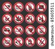 Prohibited symbols on gray background - stock vector