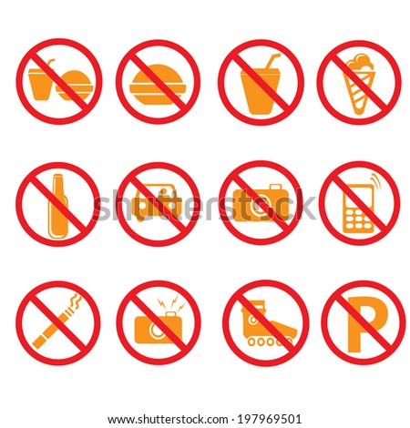 Prohibited symbols set  signs, vector illustration - stock vector