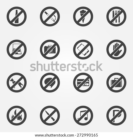 Prohibited symbols set - vector black restriction icons or signs