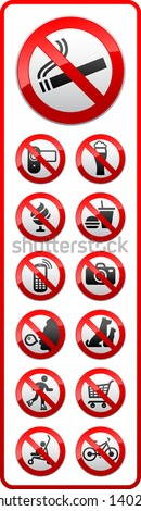 Prohibited symbols, sticky labels on the door for supermarkets, vector illustration - stock vector