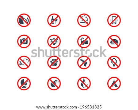 Prohibition icons - stock vector