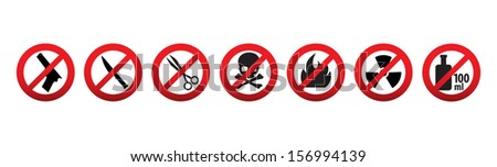 Prohibition icons. Items not allowed to carry in hand baggage - stock vector