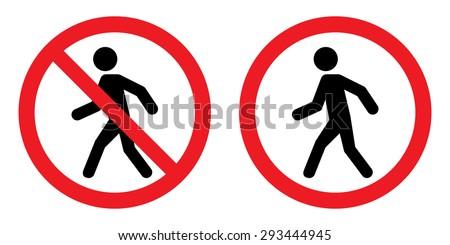 Prohibition No Pedestrian Sign - stock vector