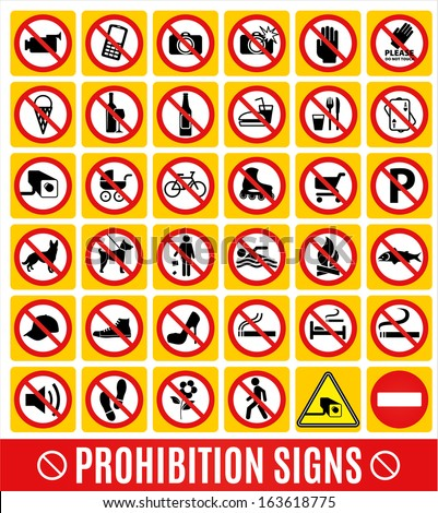 Prohibition set. - stock vector