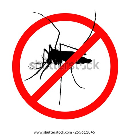 Prohibition sign for mosquitos on white background - stock vector