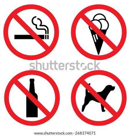 Prohibition sign for smoking , icecream , alcohol and dog - stock vector