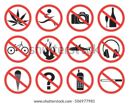 Prohibition Sign. Icon. Vector illustration. Silhouette. Set. Sign.