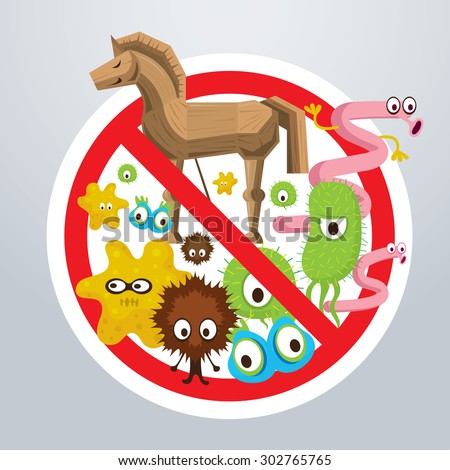 Prohibition Sign No or Anti Virus Computer, Spyware, Malware, Worm, Trojan, Adware - stock vector