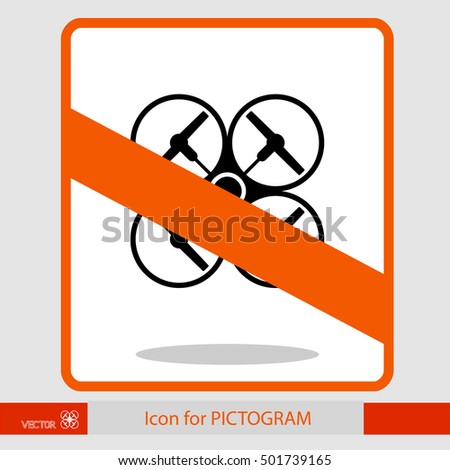 Prohibition sign. Quadrocopters (drone), top view. Sticker pictograms. eps8