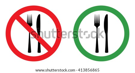 Prohibition sign set for eating . Vector illustration - stock vector