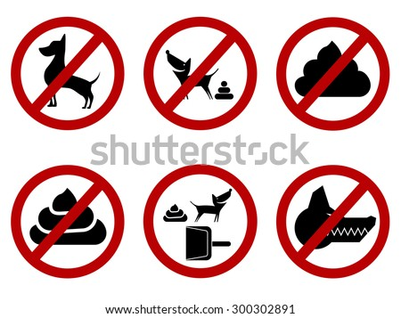 Prohibition signs for dogs - restricted, clean up and other. Vector EPS8