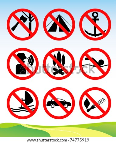 Prohibition signs set of camping and nature leisure. Vector illustration.